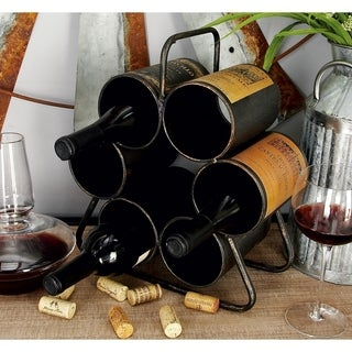 Rustic 14 x 12 Inch Black Metal 6-Bottle Wine Rack by Studio 350