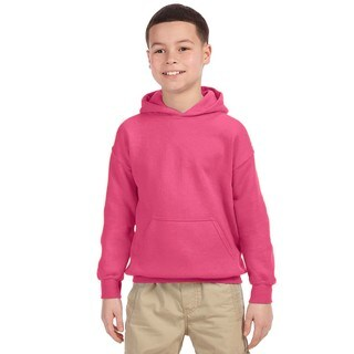 Gildan Boys' Safety Pink Cotton/Polyester Heavy Blend Hooded Sweatshirt