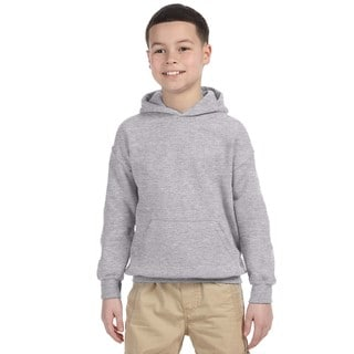 Heavy Blend Boy's Grey Cotton-blended Hooded Sweatshirt