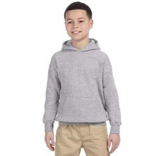 Heavy Blend Boy's Grey Cotton-blended Hooded Sweatshirt