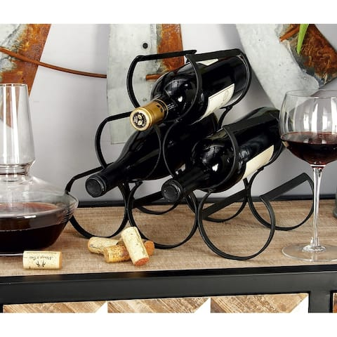 Modern 10 x 12 Inch Black Iron 6-Bottle Wine Rack by Studio 350