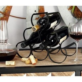 Modern 10 x 12 Inch Black Iron 6-Bottle Wine Rack by Studio 350