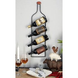Rustic 31 x 9 Inch 4-Bottle Wall-Mounted Iron Wine Rack by Studio 350