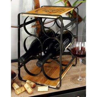 Black & Brown Wood, Metal Wine Racks
