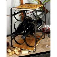 Farmhouse 13 x 10 Inch Wood and Iron 6-Bottle Wine Rack by Studio 350