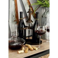 Rustic 15 x 10 Inch Distressed Brown Metal Wine Holder by Studio 350