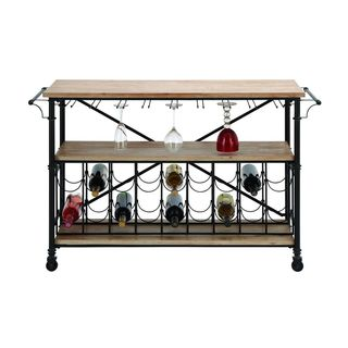 Metal and Wood Wine Rack Table Cart Combination