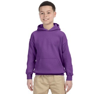 Heavy Blend Boy's Purple Cotton and Polyester Hooded Sweatshirt