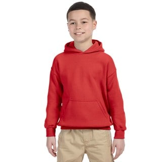 Heavy Blend Boy's Red Cotton and Polyester Hooded Sweatshirt