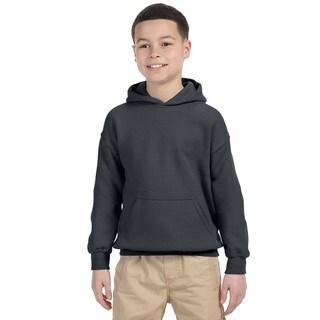 Gildan Boys' Charcoal Heavy Cotton-blend Hooded Sweatshirt