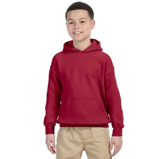 Gildan Boys' Cardinal Red Heavy Cotton-blend Hooded Sweatshirt
