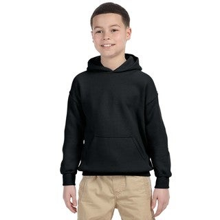 Gildan Boys Black Heavy-blend Hooded Sweatshirt