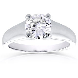 Annello by Kobelli 14k White Gold 1ct Round Moissanite Classic Solitaire Ring