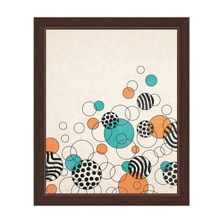 'Rising Orange and Teal Bubbles' Framed Graphic Print Wall Art