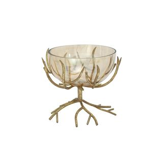 Tree Style Metal and Glass Bowl in Gold