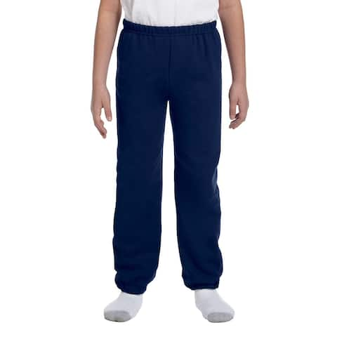 Heavy Blend Boy's Navy Cotton and Polyester Sweatpants