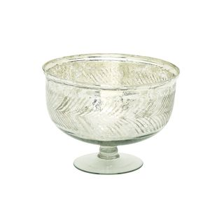 Silver Color Glass Serving Bowl