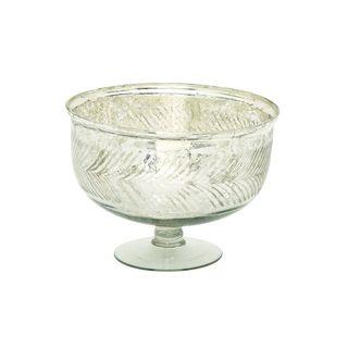 Silver Color Glass Serving Bowl