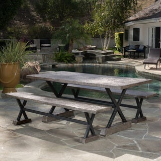 Belmond Outdoor Dining Bench (Set of 2) by Christopher Knight Home