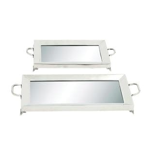 Stainless Steel Mirror Serving Tray (Set of 2)