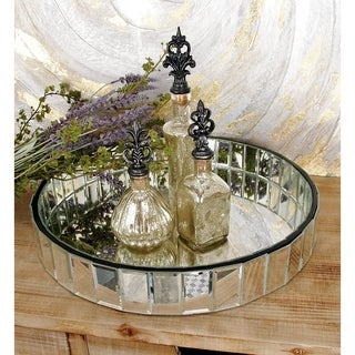 Faceted Mirror Serving Tray