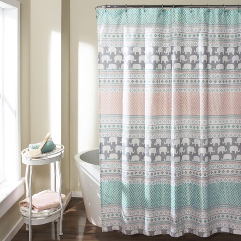 The Curated Nomad Lyon Elephant Stripe Shower Curtain