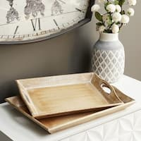 Set of 2 Traditional 2 and 3 Inch Wooden Serving Trays by Studio 350