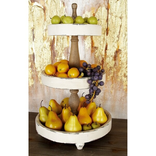 Farmhouse 25 x 15 Inch Wooden 3-Tier Serving Tray by Studio 350. Opens flyout.