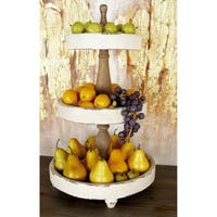 Farmhouse 25 x 15 Inch Wooden 3-Tier Serving Tray by Studio 350