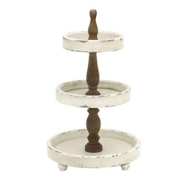 wood 3 tier serving tray free shipping today overstock 19030628. Black Bedroom Furniture Sets. Home Design Ideas
