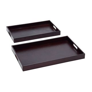 Wood Real Leather Serving Tray (Set of 2)