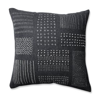 Pillow Perfect Tribal Sampler Felt Dark Melange Grey 16.5-inch Throw Pillow