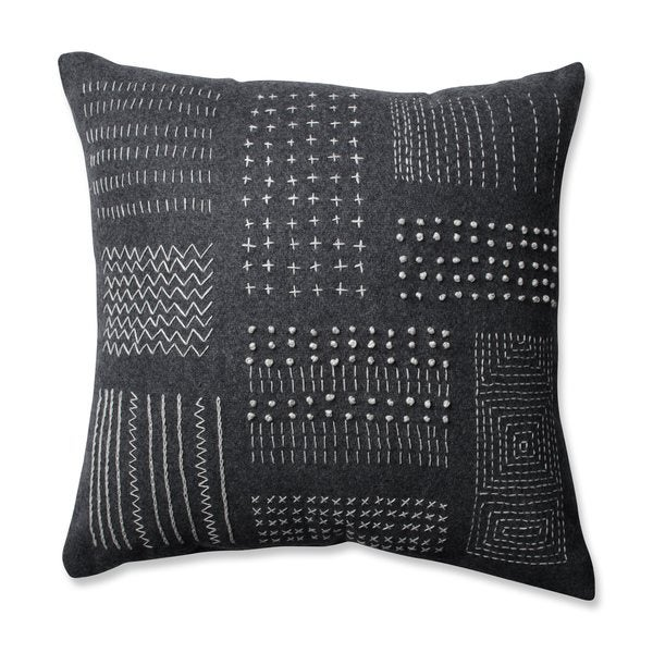 Pillow Perfect Tribal Sampler Felt Dark Melange Grey 16.5-inch Throw Pillow