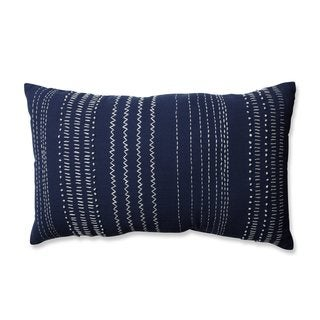 Pillow Perfect Tribal Stitches Cream-Gray Rectangular Throw Pillow
