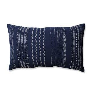 Pillow Perfect Tribal Stitches Navy-white Rectangular Throw Pillow