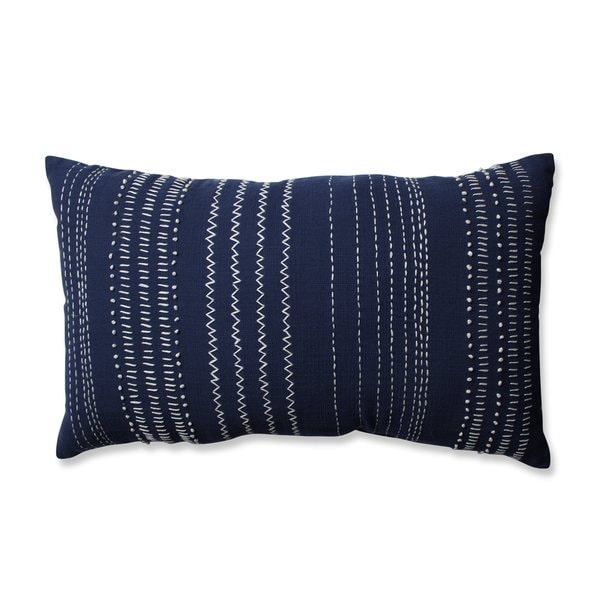 Shop Pillow Perfect Tribal Stitches Navywhite Rectangular Throw Magnificent White Oblong Decorative Pillow