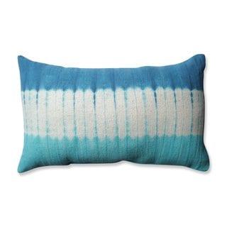 Pillow Perfect Shibori Bands Teal-Turquoise Rectangular Throw Pillow
