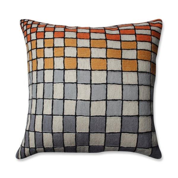 Pillow Perfect Checker Board Grey-Orange-Cream 16.5-inch Throw Pillow