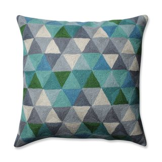 Pillow Perfect Triangle Grid Blue-Grey 16.5-inch Throw Pillow