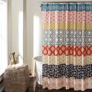 brown and aqua shower curtain. Lush Decor Bohemian Stripe Shower Curtain Curtains For Less  Overstock com Vibrant Fabric Bath