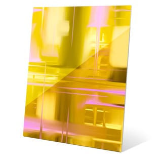 'Golden City Glamour' Graphic Print On Glass Wall Art