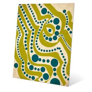 Waves and Seaweed Graphic on Metal Wall Art