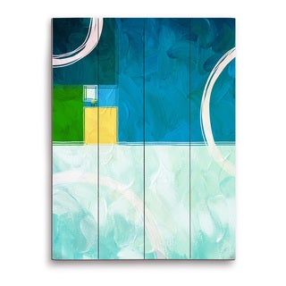 'Divided Ratio Aquamarine' Wooden Wall Art