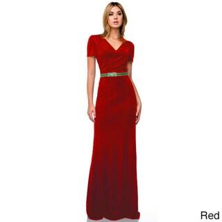 DFI Women's Short Sleeve Beaded Waist Long Evening Gown