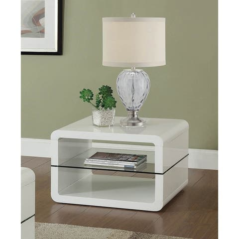 "Coaster Company Modern White End Table - 23.50"" x 23.50"" x 15.75"""