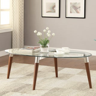 Coaster Company Oval Glass and Nickel Coffee Table