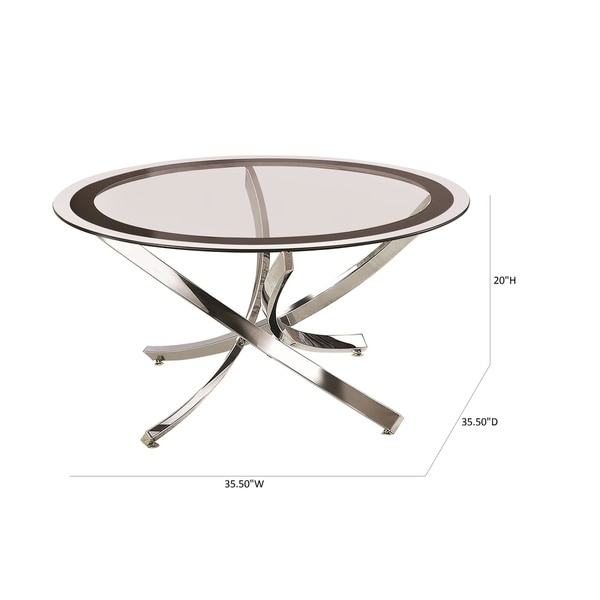 Coaster Company Round Glass and Chrome Coffee Table