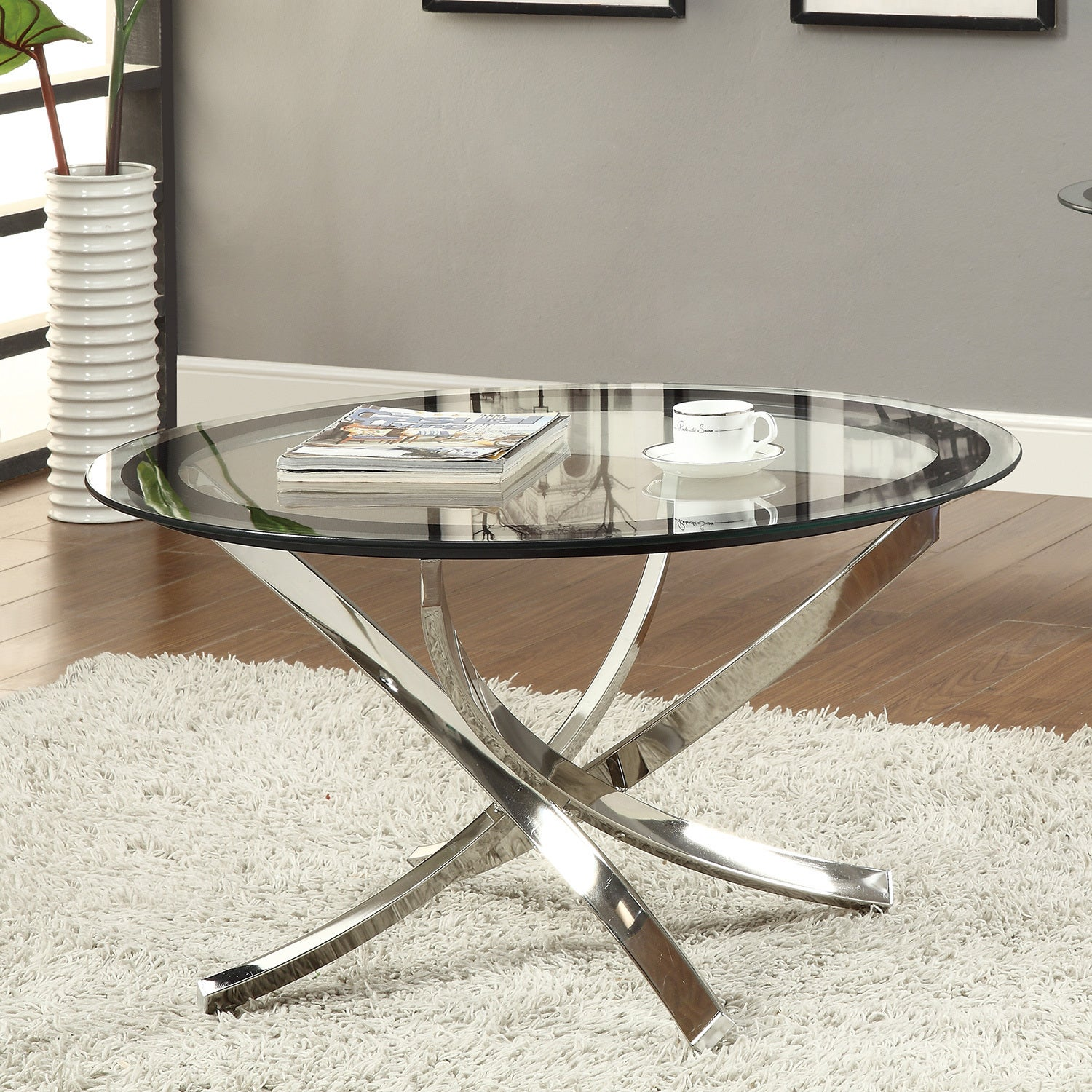 Coaster Company Round Gl And Chrome Coffee Table 35 50 X 20