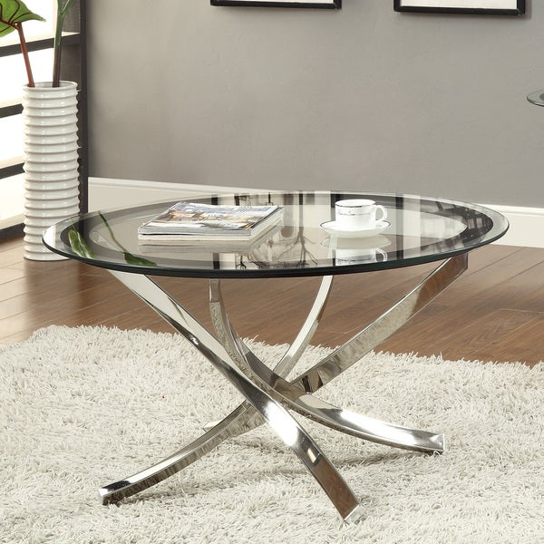 shop coaster company round glass and chrome coffee table free shipping today overstock. Black Bedroom Furniture Sets. Home Design Ideas