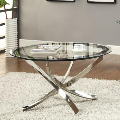 "Coaster Company Round Glass and Chrome Coffee Table - 35.50"" x 35.50"" x 20"